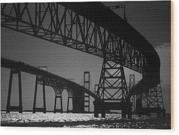 Chesapeake Bay Bridge At Annapolis Wood Print by Skip Willits