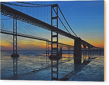 Chesapeake Bay Bridge Reflections Wood Print by Bill Swartwout