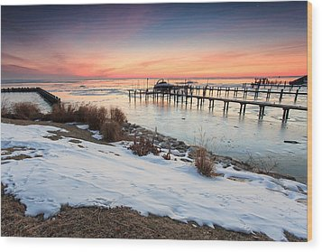 Chesapeake Bay Freeze Wood Print by Jennifer Casey