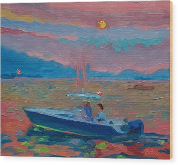 Chesapeake Bay Twilight With Moon Wood Print