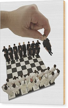 Chess Being Played With Little People Wood Print by Darren Greenwood