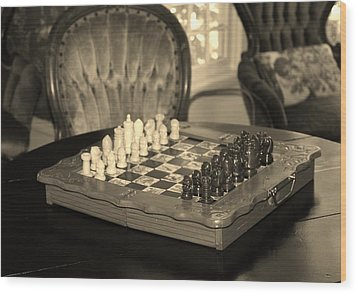 Chess Game Wood Print by Cynthia Guinn