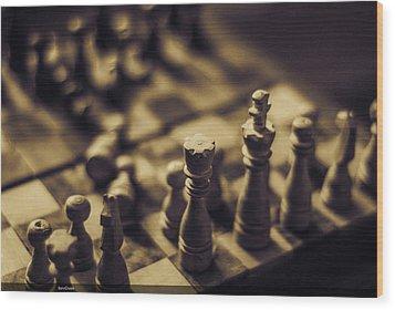 Chessmaster Wood Print by Diaae Bakri