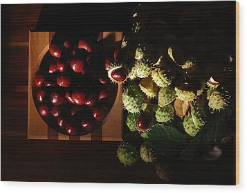 Wood Print featuring the photograph Chestnuts by David Andersen