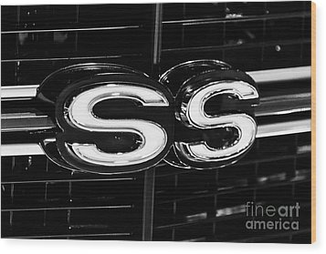 Chevelle Ss Super Sport Emblem Black And White Picture Wood Print by Paul Velgos
