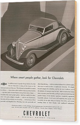Chevrolet 1933 1930s Usa Cc Cars Wood Print by The Advertising Archives