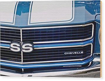 Chevrolet Chevelle Ss Grille Emblem 2 Wood Print by Jill Reger