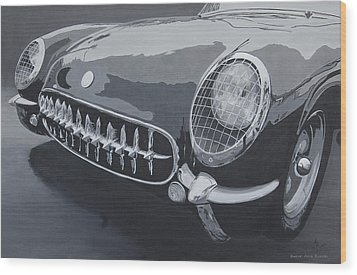 Wood Print featuring the painting Chevrolet Corvette 1954 by Anna Ruzsan