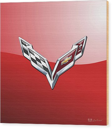 Chevrolet Corvette - 3d Badge On Red Wood Print