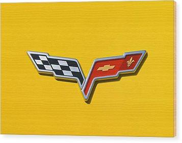 Chevrolet Corvette Flags Wood Print by Phil 'motography' Clark