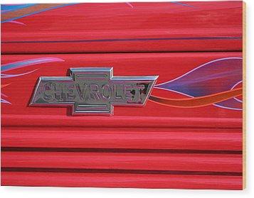 Chevrolet Emblem Wood Print by Carol Leigh
