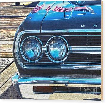 Chevrolet In American Town Wood Print by Sebastian Mathews Szewczyk