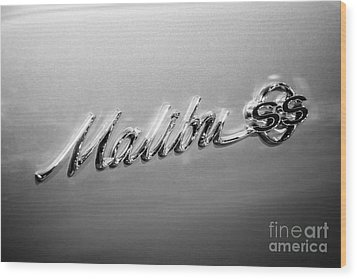 Chevrolet Malibu Ss Emblem Black And White Picture Wood Print by Paul Velgos