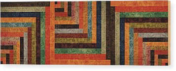 Chevron Brocade Triptych Wood Print by Michelle Calkins