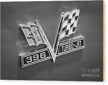 Chevy 396 Turbo-jet Emblem Black And White Picture Wood Print by Paul Velgos