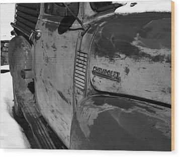 Chevy B/w Wood Print by Gia Marie Houck