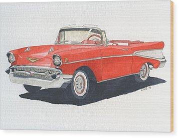 Chevy Bel Air Convertible 57 Wood Print by Eva Ason