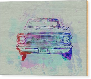 Chevy Camaro Watercolor 2 Wood Print by Naxart Studio