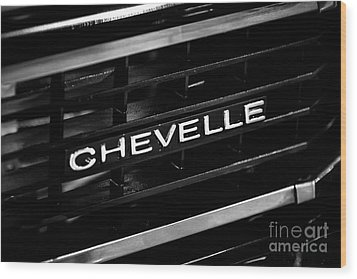 Chevy Chevelle Grill Emblem Black And White Picture Wood Print by Paul Velgos