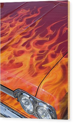 Chevy Flames Wood Print by Peter Tellone