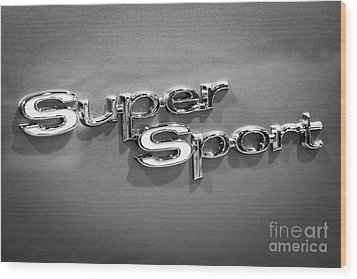 Chevy Super Sport Emblem Black And White Picture Wood Print by Paul Velgos