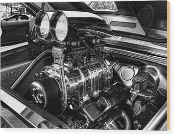 Chevy Supercharger Motor Black And White Wood Print