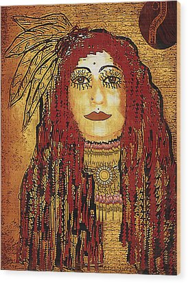 Cheyenne Woman Warrior Wood Print by Pepita Selles