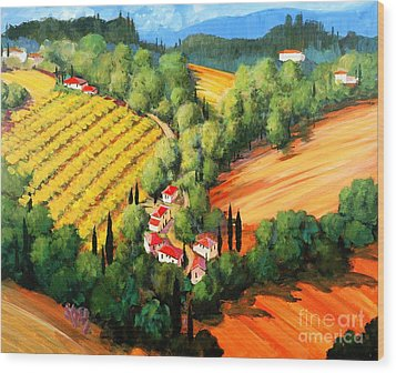 Chianti Road Wood Print by Michael Swanson