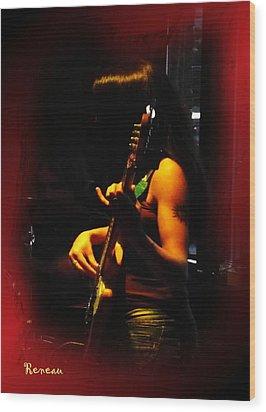 Chic Bassist Wood Print by Sadie Reneau