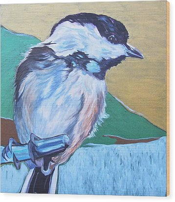 Chicadee Wood Print by Jamie Downs