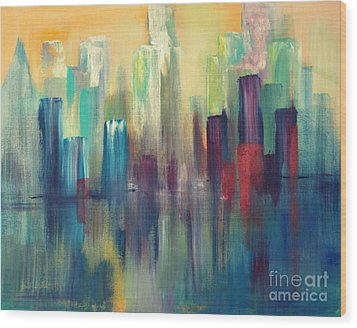 Chicago A Reflection Wood Print by Julie Lueders