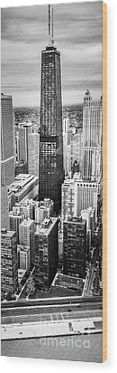 Chicago Aerial Vertical Panoramic Picture Wood Print by Paul Velgos