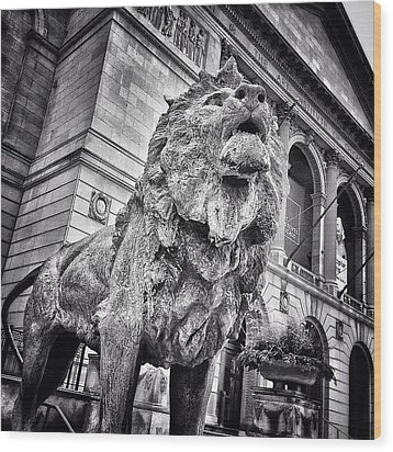 Lion Statue At Art Institute Of Chicago Wood Print