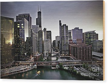 Chicago At Dusk Wood Print