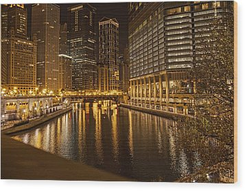 Chicago At Night Wood Print