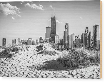 Chicago Beach And Skyline Black And White Photo Wood Print by Paul Velgos
