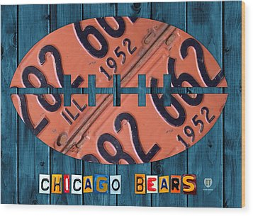Chicago Bears Football Recycled License Plate Art Wood Print by Design Turnpike