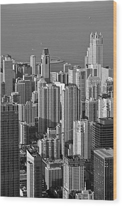 Chicago - Birds-eye-view Wood Print by Christine Till