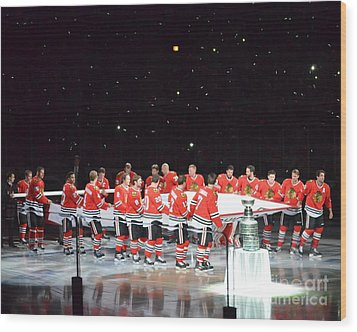 Chicago Blackhawks And The Banner Wood Print