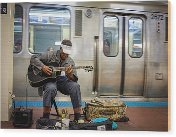 Chicago Bluesman Wood Print