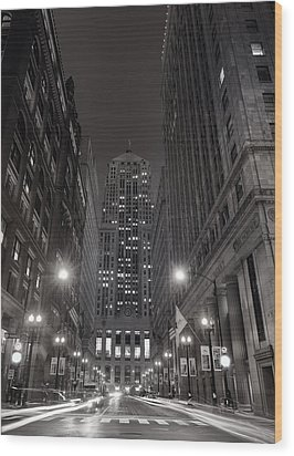Chicago Board Of Trade B W Wood Print by Steve Gadomski