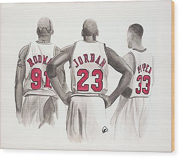 Chicago Bulls Wood Print by Megan Padilla