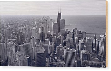 Chicago Bw Wood Print by Steve Gadomski