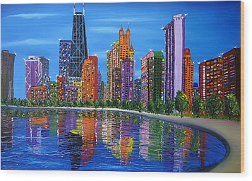 Chicago City Lights #1 Wood Print by Portland Art Creations