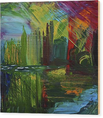 Chicago City Scape Wood Print by Dick Bourgault