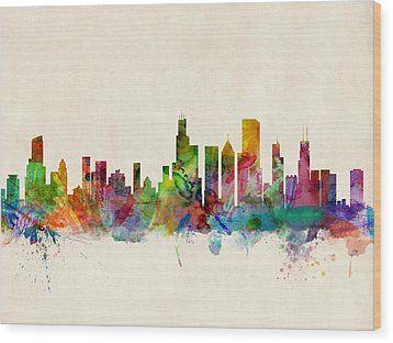 Chicago City Skyline Wood Print by Michael Tompsett