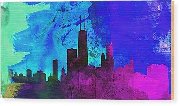 Chicago City Skyline Wood Print by Naxart Studio