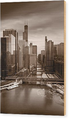 Chicago City View Afternoon B And W Wood Print by Steve Gadomski
