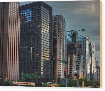 Chicago Cityscape 002 Wood Print by Lance Vaughn