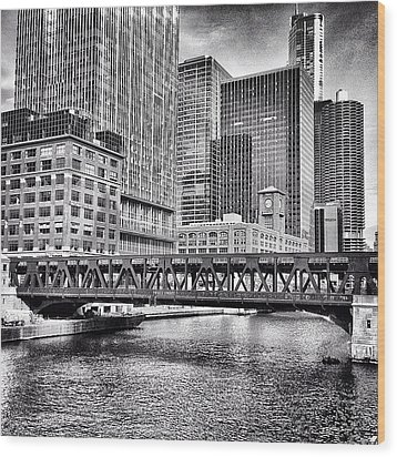 Wells Street Bridge Chicago Hdr Photo Wood Print